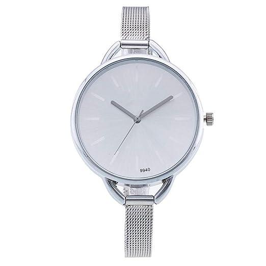 ZXMBIAO Reloj De Pulsera Relojes Plateados De Moda Vestido Casual para Mujer Relojes De Cuarzo Relojes De Acero Inoxidable, Blanco: Amazon.es: Relojes