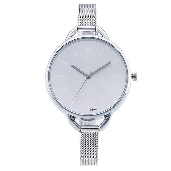 ZXMBIAO Reloj De Pulsera Relojes Plateados De Moda Vestido Casual para  Mujer Relojes De Cuarzo Relojes De Acero Inoxidable ea18e5673035