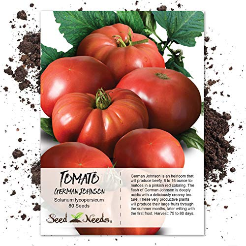 Package of 80 Seeds, German Johnson Tomato (Solanum lycopersicum) Non-GMO Seeds by Seed Needs