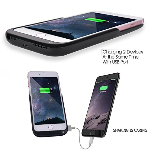2017 Model NuCharger 8000mAh trim External Battery court case For IPhone 7 Plus6 Plus similar value electricity Pack Backup electricity Bank Free Ring Holder and Tempered window Matte Black Cases