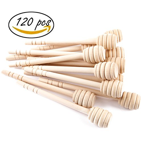 Artcome 120-Piece 6 Inch Wood Honey Dipper Sticks, with Ribbon for Honey Jam Jar Dispense, Mini Individually Wrapped, Wedding Party Favors by Artcome