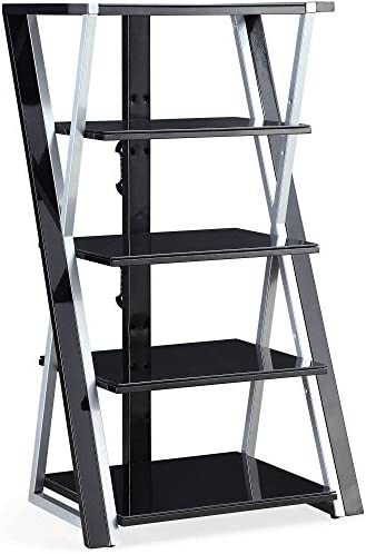 Whalen 48 Black Audio Video Tower, Tempered Glass Shelves