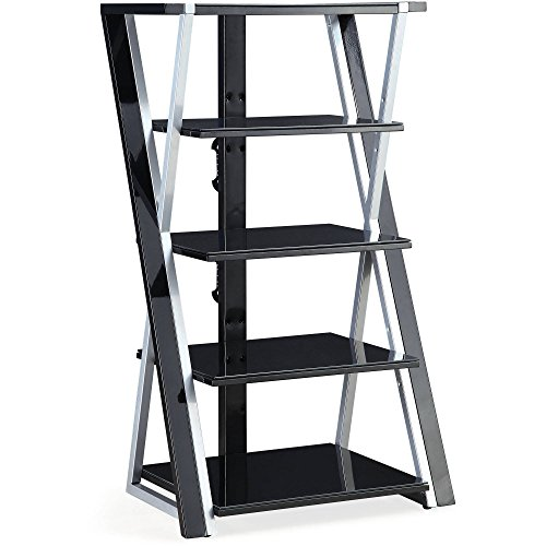 Whalen 48'' Black Audio Video Tower, Tempered Glass Shelves by Whalen