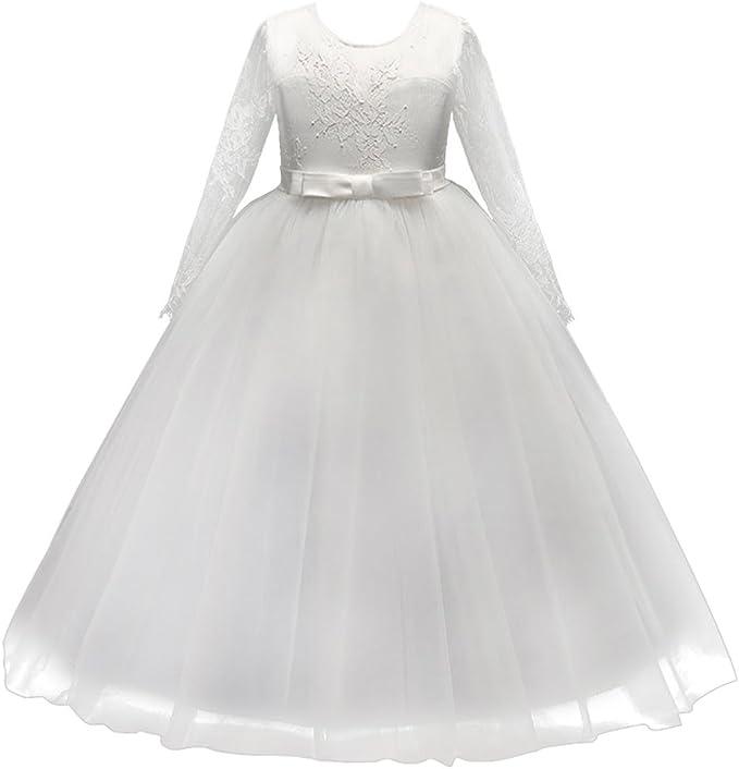 Abito Bambina Principessa Vestito da Cerimonia per la Damigella Floreale Matrimonio Carnevale Tutu Compleanno Bambina Festa Sera Ragazza Elegante Fiore Bimba Comunione Costume Abiti da Cerimonia