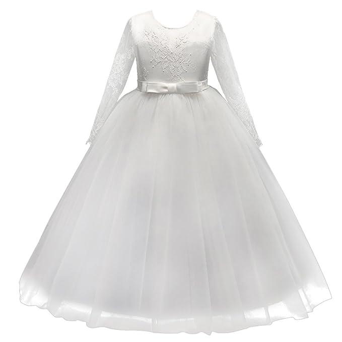 3a5abcd0bf31 Vestito Lungo Elegante Ragazze Fiore Principessa Manica Lunga Floreale Pizzo  Vestiti per Compleanno Festa Damigella Matrimonio Sera Abiti Nuziale  Comunione ...