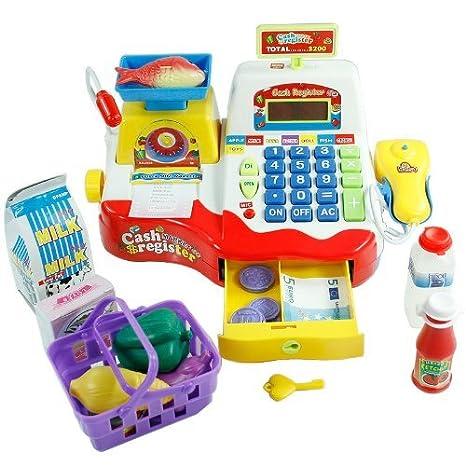 Caja registradora de juguete para niños - Rojo: Amazon.es: Juguetes y juegos