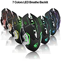 Ratón inalámbrico Recargable para Juegos--Manba, 2.4G USB LED Optical Silent Wireless gaming Mouse, Auto Sleeping, Ergonomics Grip, 3 dpi Ajustable(800 DPI,1600 DPI,2400 DPI), 7 Botones compatibles con computadora portátil/PC/portátil (Negro) Ratón inalámbrico para Juegos