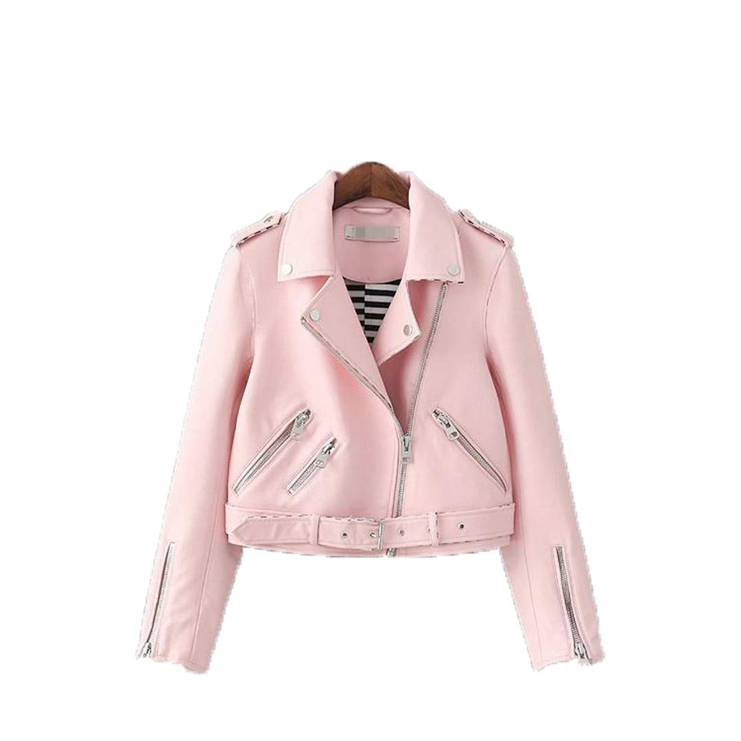 1 Women Zipper Faux Leather Jacket Autumnmoto Jacket Biker Jacket Slim