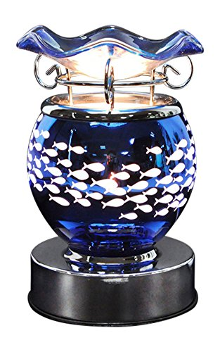 Electra Blue Fish Design Fragrance Oil Warmer - Free Scented Oil and extra replacement bulb - Use for Home Fragrance
