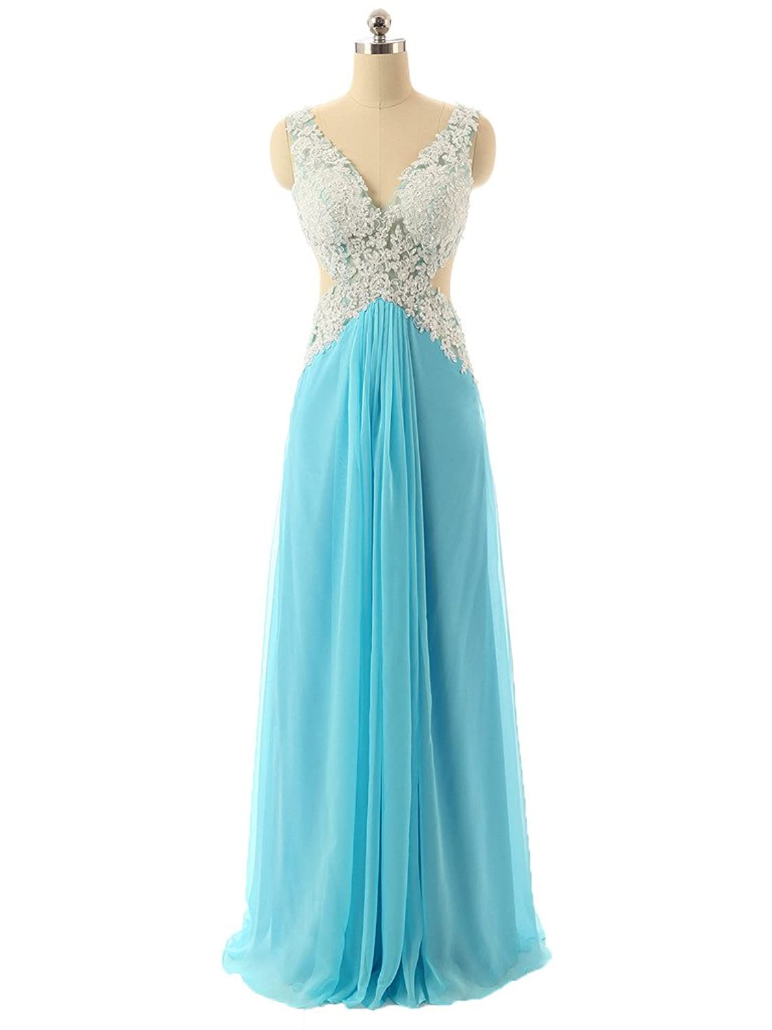 Fanmu Womens V-Neck Open Back Lace Chiffon Event Dress Prom Evening Gown