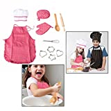 OFKP 11 Pcs Children's Cooking Aprons Play Costume, Kids DIY Baking Chef Set for Kids Cooking Play