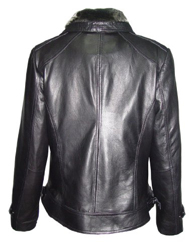 Nettailor 4061 Leather Motorcycle Jackets Womens Faux Fur Trim Fine Lamb by NETTAILOR (Image #4)
