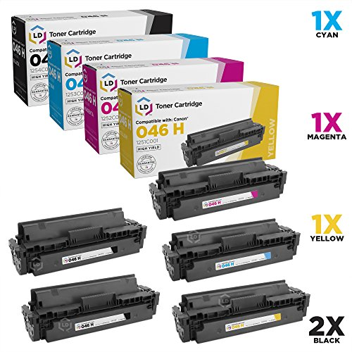 LD Compatible Toner Cartridge Replacements for Canon 046H High Yield (2 Black, 1 Cyan, 1 Magenta, 1 Yellow, 5-Pack)