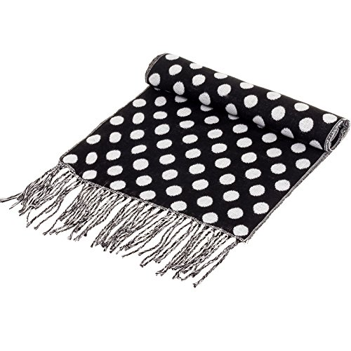 SilverHooks Soft & Warm Cashmere Scarf w/ Gift Box, Black & White Polka Dots
