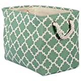 """DII Collapsible Polyester Storage Basket or Bin with Durable Cotton Handles, Home Organizer Solution for Office, Bedroom, Closet, Toys, Laundry (Large – 15x12x15""""), Bright Green Lattice"""