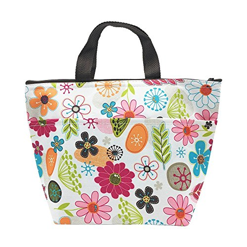 Insulated Lunch Bag Reusable Lunch Box Tote Bag Cooler Bag for Women Adults Kids (Colorful Flowers) (Flower Girl Canvas Tote Bag)