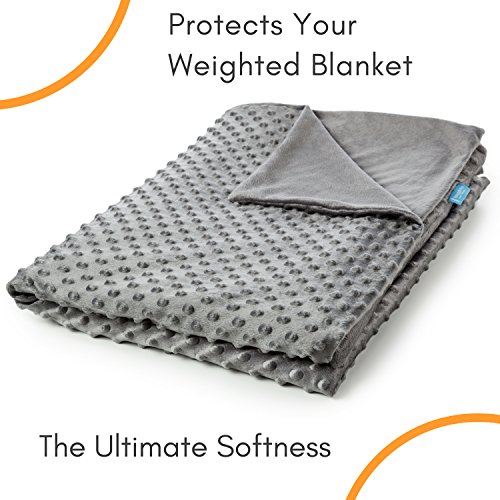 (Snuggle Pro Luxury Minky Dot Duvet Cover for Weighted Blanket - 48''x72'' Twin Size/Full Bed Velvet Plush Weighted Blanket Cover)