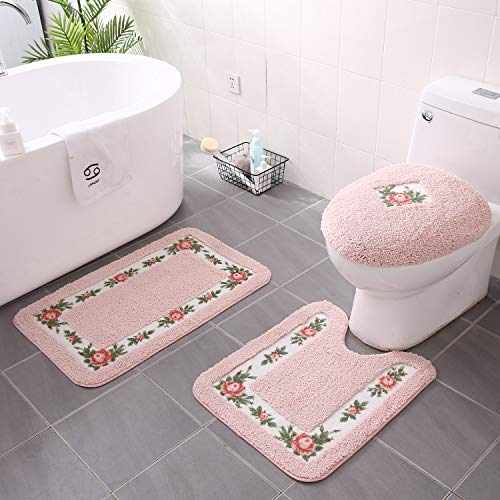 JSJ_CHENG Non-Slip Pink Rose Floral Bathroom Toilet Shower Bath Rugs and Mats Set of 3pcs Rectangular 19.6