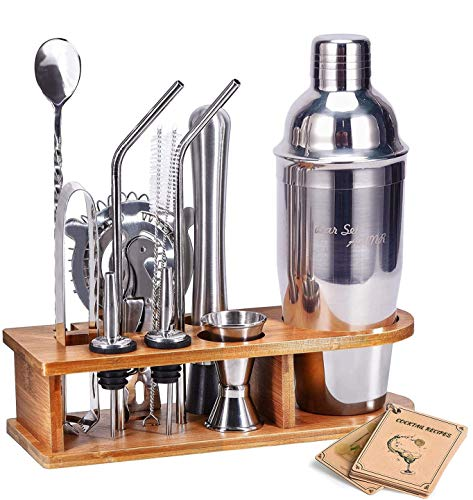 Bar Set Cocktail Shaker Set, AHNR 14-Piece Bartender Kit Stainless Steel Bar Tool Set with Stylish Bamboo Stand, Bar…