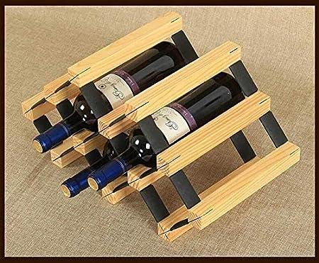 HJXSXHZ366 Estantería de Vino Estante del vino-6-Botella Titular for la Botella de Vino encimera Decoración Periodo de Madera Independiente Bar/Bodega/Cocina, Blanca Estante de Vino pequeño