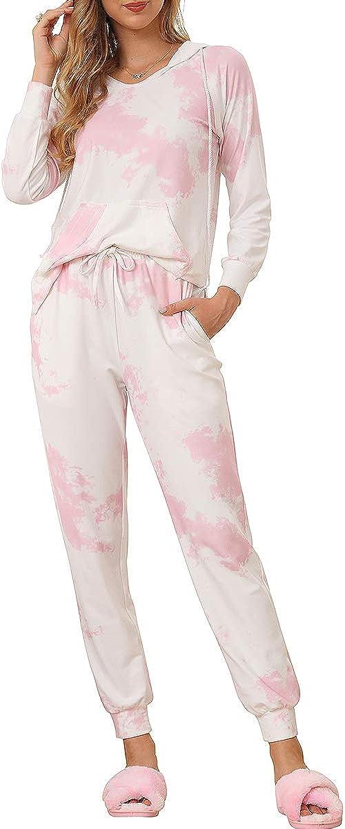 Ever-Pretty Tie Dye Conjunto de Pijama Estampado 2 Piezas Capucha Ropa De Dormir Jogger PJ Sets Mujer 01178