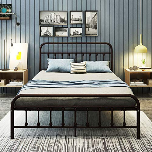 Metal Bed Frame Queen Size Platform with Vintage Headboard and Footboard Sturdy Metal Frame Premium Steel Slat Support Bronze Double Raised Wood Letter