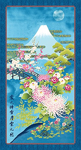 Kona Bay - Japanese, Asian, Quilting Fabric - Mt. Fuji in Moonlight Panel - (Fuji Fabric)