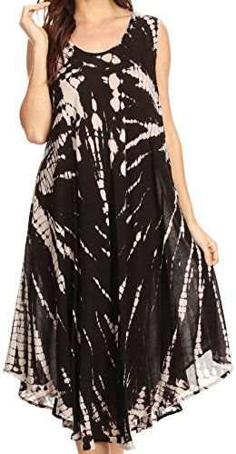 Sakkas 17009 - EULA Boho Sleeveless Tie Dye Long Tank Caftan Sundress/Beach Cover Up - Black/White - OS