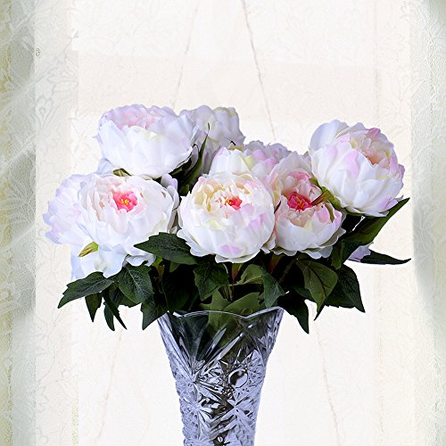 Wuudi Artificial Flower Bouquet Pink Peony 1 Bunch of 5 flowers (1)