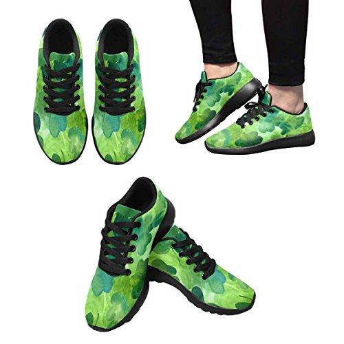 InterestPrint Womens Jogging Running Sneaker Lightweight Go Easy Walking Comfort Sports Athletic Shoes Hand Drawn Watercolour Shamrocks On Green Background joZnKL