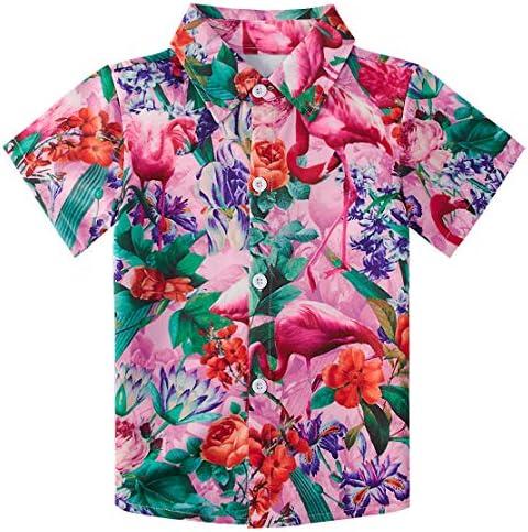 Enlifety Kids Boys Summer Button Down Shirt Hawaiian Aloha Holiday Short Sleeve Dress Shirts Tops 2-14 Years /…