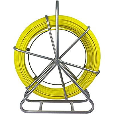 Image of ECO-WORTHY Fish Tape Fiberglass 8MM 492FT Duct Rodder Fish Tape Continuous Fiberglass Wire Cable Running with Cage Wheel Stand