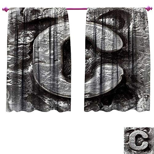 Letter C Window Curtain Drape Fused Elements Aluminum Style Minuscule C Words First Name Theme Background Artwork Customized Curtains W120 x L72 Silver