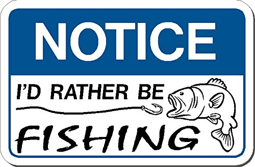 2 | Notice - I'd rather be fishing - (2 decals) I Hard Hat vinyl decal car sticker - warning to avoid injury©