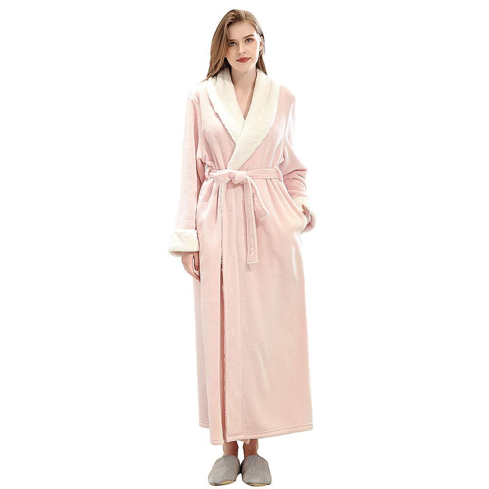 Slenderella Ladies 52//132cm Long Luxury 300GSM Thick Soft Waffle Fleece Shawl Collared Bath Robe Dressing Gown House Coat Small Medium Large XL XXL /& XXXL