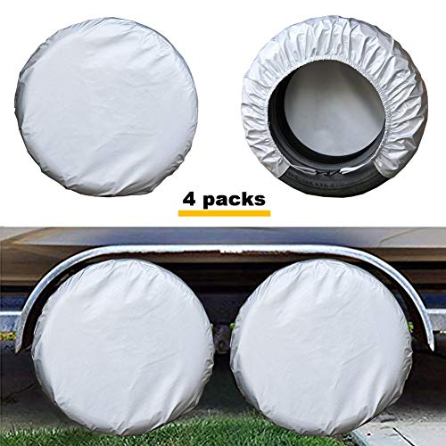 Kayme Four Layers Tire Covers Set of 4 for Rv Travel Trailer Camper Vinyl Wheel, Sun Rain Snow Protector, Waterproof, Silver, Fits 33-35 Inch Tire Diameter XXL