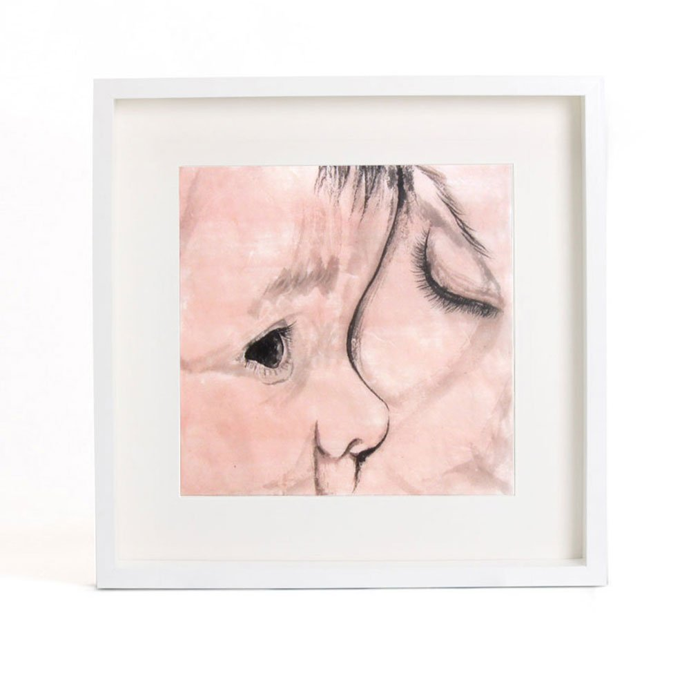 Original Watercolor Painting, Mother and Child's Portrait, Special Gift for New Mom and baby