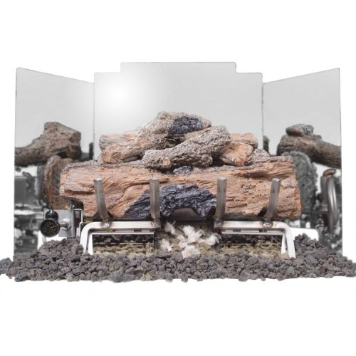 Peterson Gas Logs 24 Inch 3-fold Contemporary Polished Stainless Steel Fireback