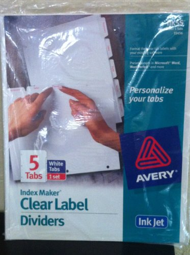 Avery(R) Index Maker(R) Clear Label Dividers With White Tabs For Inkjet Printers, 5-Tab (Printers Inkjet 5 Tab)