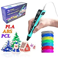 HongsMarket Multi-Filament(PLA,ABS,PCL) 3D Printing Pen w/ 1.75mm PLA Filament (14-Piece Set) Kids and Adults Drawing, Writing, Creating 3-D Arts and Crafts Projects | LED Display, Christmas Gift