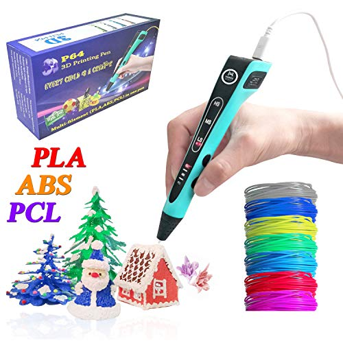 Multi-Filament(PLA,ABS,PCL) 3D Printing Pen w/ 1.75mm PLA Filament (14-Piece Set) Kids and Adults Drawing, Writing, Creating 3-D Arts and Crafts Projects   LED Display, Birthday Gift