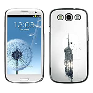 MobileHut / Samsung Galaxy S3 I9300 / Empire State Sci Fi Building Abstract / Delgado Negro Plástico caso cubierta Shell Armor Funda Case Cover