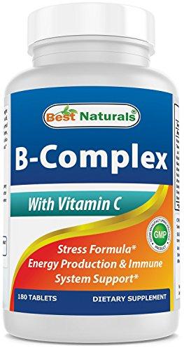 Best Naturals B-Complex with Vitamin C Tablet, B Complex Stress Formula, B Complex Energy Production Formula, 180 Count