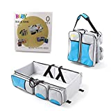 Multi-function Convertible Diaper Bag Changing Station Foldable Baby Bed Portable Bassinet Bag Travel Baby Bed (Blue&Gray)