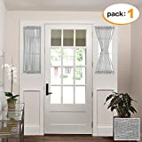 door panel darkening - H.VERSAILTEX Home Fashion Linen and Poly Blended French Door Curtains, Rod Pocket Glass Door Panel, 25W by 40L Inches - Dove (Set of 1)
