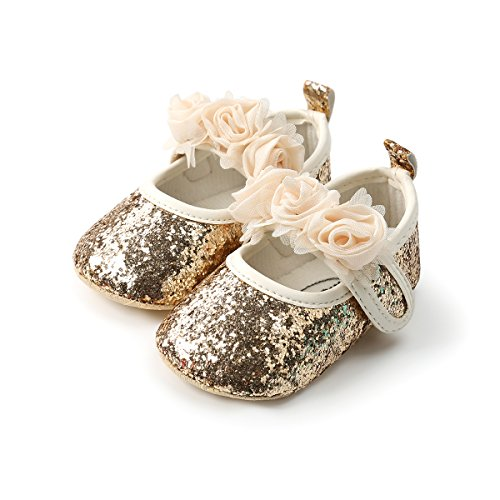 Isbasic Baby Boys Girls Flat Shoes Toddler Soft Sole Mary Jane Pincess Christening Baptism Crib Shoes (12-18 Months, PU Gold)