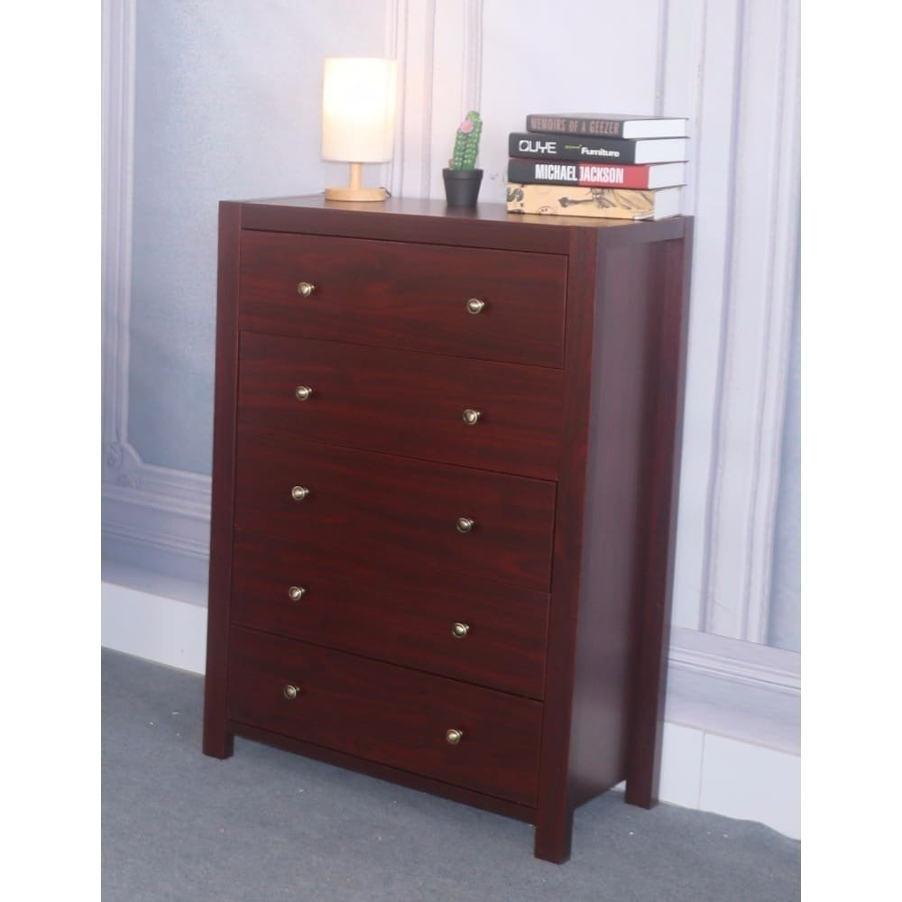 5 Drawer Chest with Metal Glides and Brass Knob, Dark Brown Finish, Made with Solid Wood and Wood Veneer, Bundle with Ebook for Home Furnitures