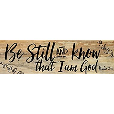 Be Still and Know that I am God Black Letter Design 7 x 24 Wood Pallet Wall Art Sign Plaque
