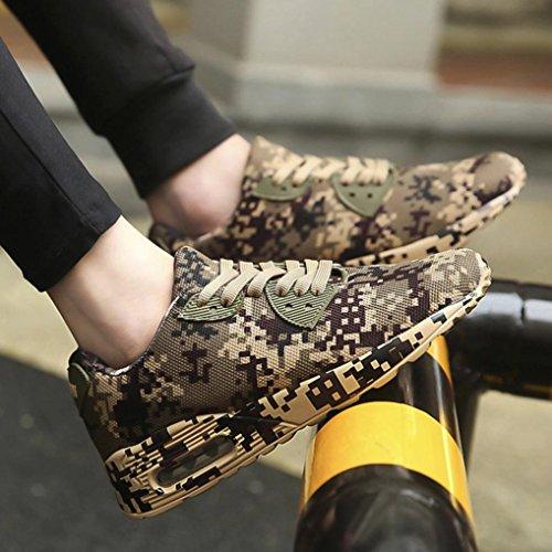 Sikye Mens Fashion Camouflage Walking Shoes Flat Heel Sport Shoes Lightweight Running Shoes Brown gjREwD