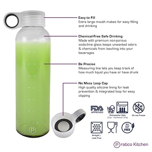 Pratico Kitchen 18oz Leak-Proof Glass Bottles, Juicing Containers, Water/Beverage Bottles - 6-Pack with Multi-Color Loop Caps by Pratico Kitchen (Image #4)